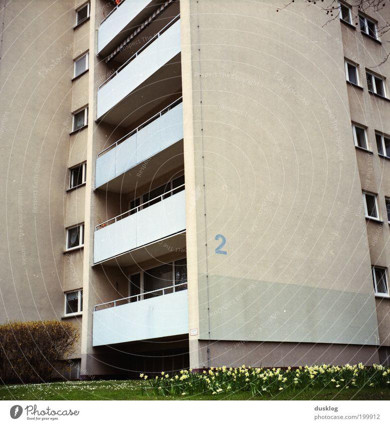 2 grün Stadt Pflanze Haus Leben Wiese Fenster grau Gebäude Beton groß Hochhaus Fassade trist Ziffern & Zahlen