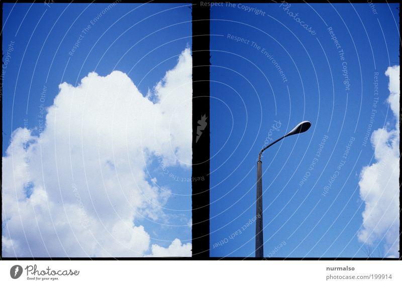 Sahnehimmel mit Laterne Himmel Natur blau weiß schön Sommer Wolken Ferne träumen Kunst Wetter Klima Lifestyle beobachten einzigartig Schönes Wetter
