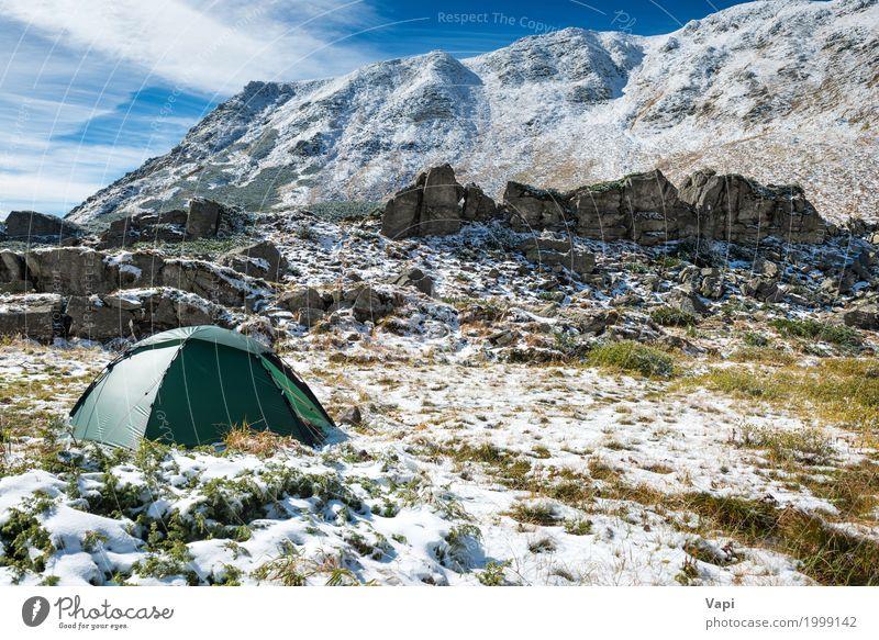 Grünes Zelt in den Schneebergen Freizeit & Hobby Ferien & Urlaub & Reisen Tourismus Ausflug Abenteuer Expedition Camping Winter Winterurlaub Berge u. Gebirge