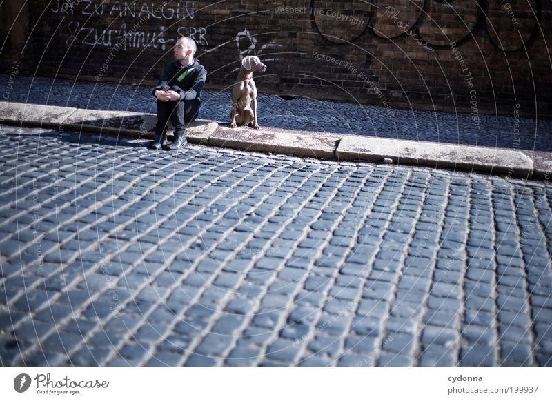 [HAL] JA-Sager Mensch Mann Stadt Erwachsene Straße Hund Leben Wand Freiheit Graffiti Wege & Pfade Mauer träumen Freundschaft warten Armut