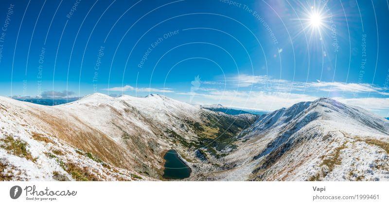 Panorama auf schöner Berglandschaft mit blauem See Himmel Natur Ferien & Urlaub & Reisen Farbe grün Wasser weiß Sonne Landschaft Wolken Winter Wald