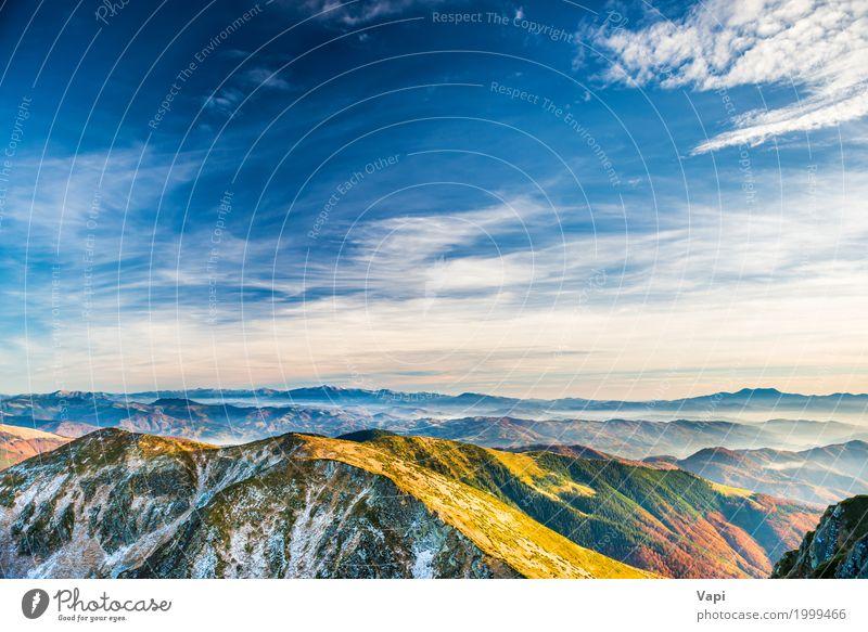 Sonnenuntergang in den Bergen Himmel Natur Ferien & Urlaub & Reisen Himmel (Jenseits) Pflanze blau Sommer Farbe grün weiß Landschaft rot Wolken Wald