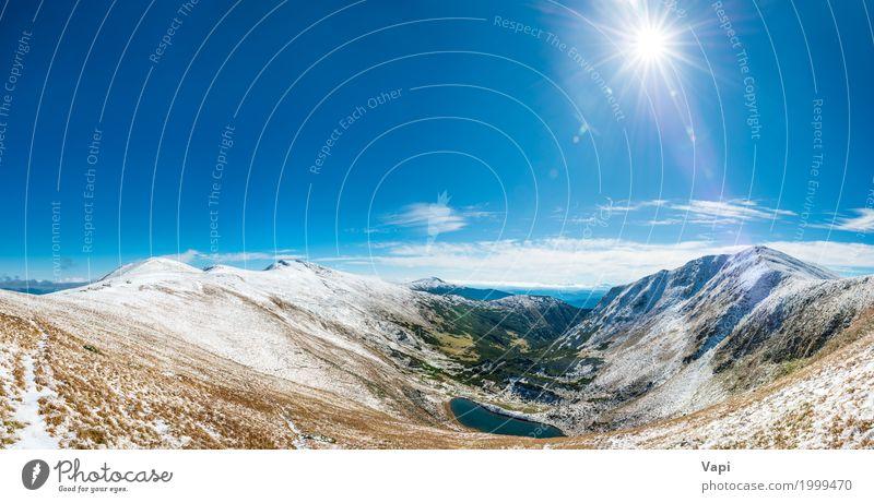 Panorama auf schöner Berglandschaft Himmel Natur Ferien & Urlaub & Reisen blau Sommer Farbe grün Wasser weiß Sonne Landschaft Wolken Ferne Winter