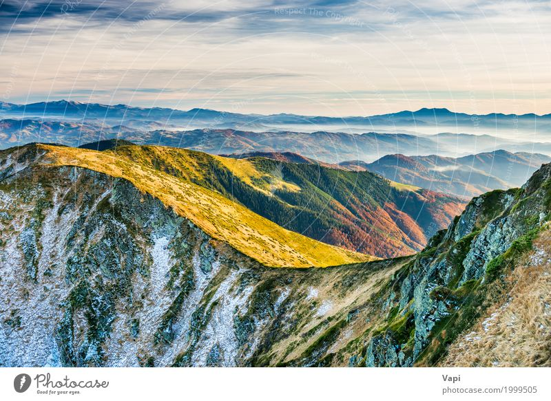 Sonnenuntergang in den Bergen Himmel Natur Ferien & Urlaub & Reisen Pflanze blau Sommer Farbe grün weiß Baum Landschaft rot Wolken Winter Wald Berge u. Gebirge