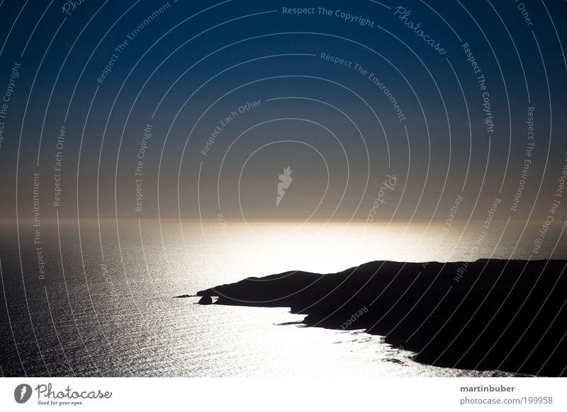 silbermeer schön Meer blau Sommer ruhig Einsamkeit Ferne Erholung träumen Landschaft Zufriedenheit Erde Küste glänzend Horizont Aussicht