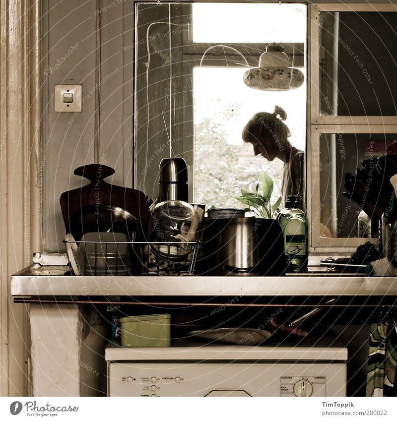 Das bisschen Haushalt... Frau Haus Wohnung Häusliches Leben Küche Reinigen Sauberkeit chaotisch Topf alternativ unordentlich Waschmaschine Möbel Geschirrspülen Küchenspüle aufräumen