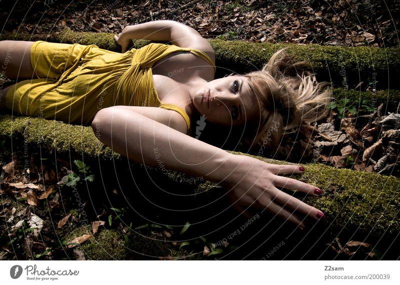 alice in gelb elegant Stil feminin Frau Erwachsene Landschaft Baum Kleid blond langhaarig berühren liegen Blick träumen ästhetisch dunkel Leidenschaft Romantik