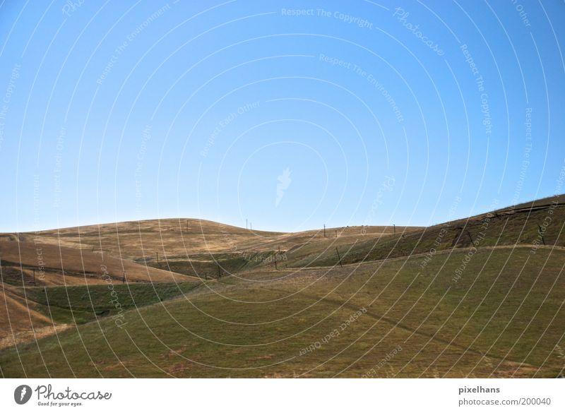 Rundungen Ferien & Urlaub & Reisen Ferne Sommer Umwelt Natur Landschaft Erde Himmel Wolkenloser Himmel Horizont Schönes Wetter Wärme Pflanze Gras Wiese Hügel