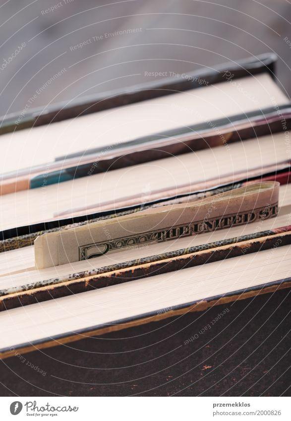Gefaltete Banknoten in Büchern versteckt Geld sparen Buch Geldscheine Bargeld Tierhaut Fleck Einsparungen US-Dollar Farbfoto Nahaufnahme Menschenleer