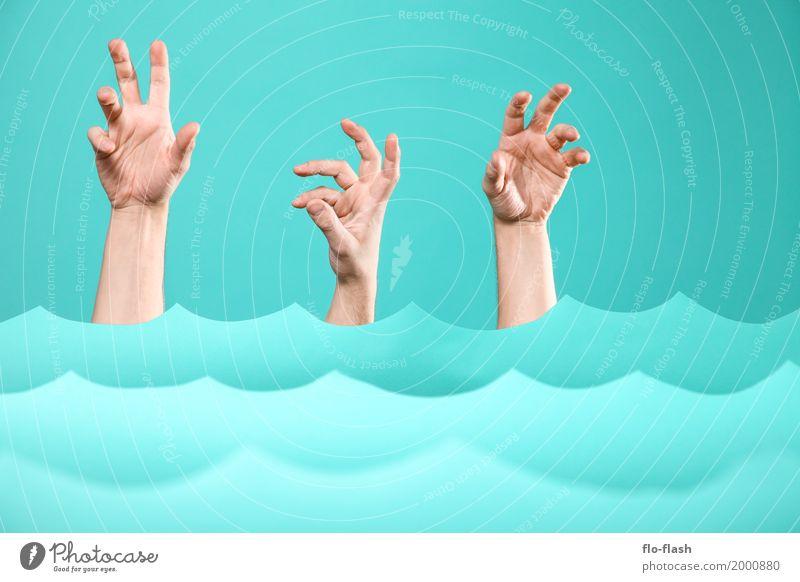 TIDENHUB Mensch Ferien & Urlaub & Reisen blau Wasser Hand Meer Gesundheit Kunst Schwimmen & Baden Design Wellen Angst gefährlich Abenteuer kaufen Studium