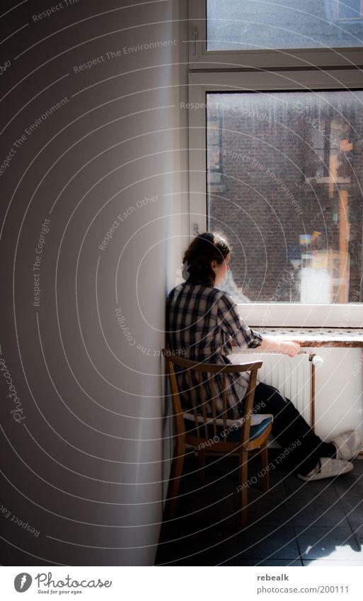 Tagtraum Häusliches Leben Stuhl Junge Frau Jugendliche 1 Mensch Fenster Denken genießen sitzen träumen Traurigkeit ruhig Langeweile Sorge Trauer Liebeskummer
