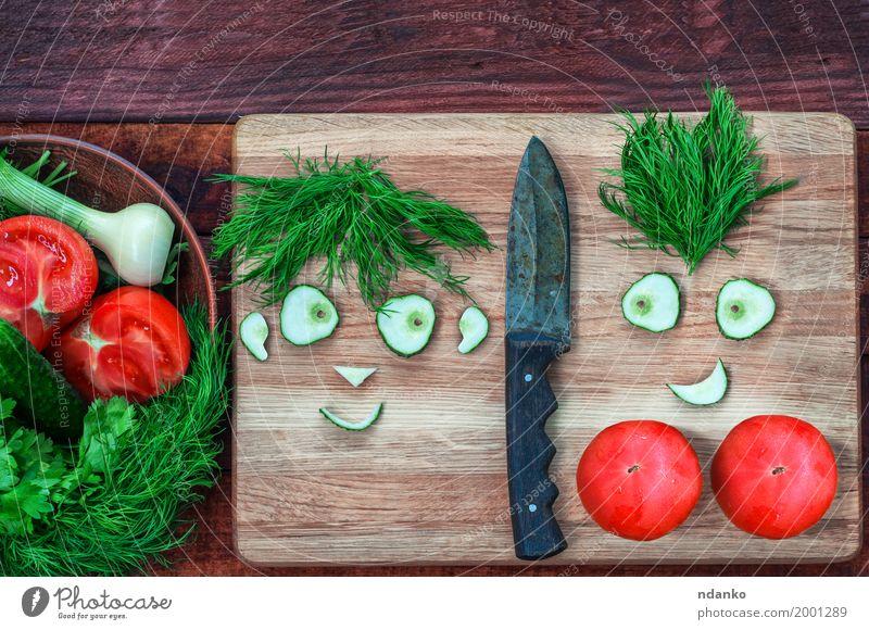 grün rot Gesicht Liebe Gefühle lustig Paar frisch Lächeln Gemüse Ernte Partnerschaft Messer Vegetarische Ernährung Comic Tomate