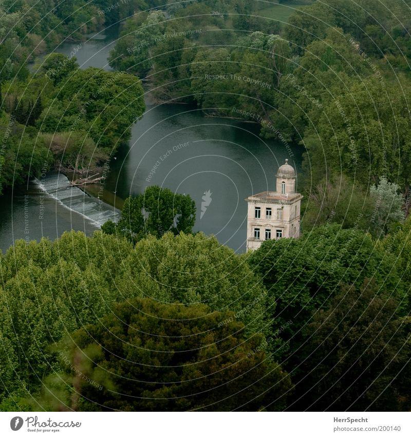 An den Ufern des Orb Umwelt Natur Landschaft Pflanze Wasser Frühling Baum Wald Flussufer Haus Bauwerk Terrasse Turm ästhetisch grün ruhig Zufriedenheit Erholung