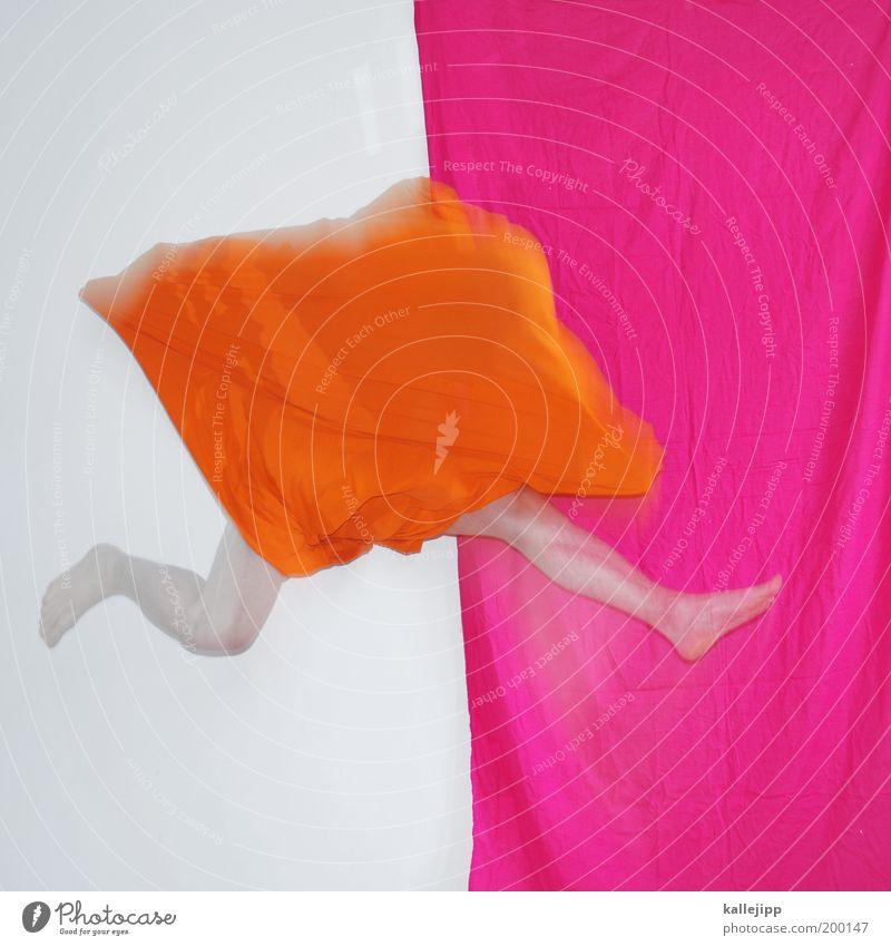 das orange Mensch Mann Erwachsene Leben Bewegung springen Beine Mode Fuß Kunst Körper Tanzen rosa maskulin Design