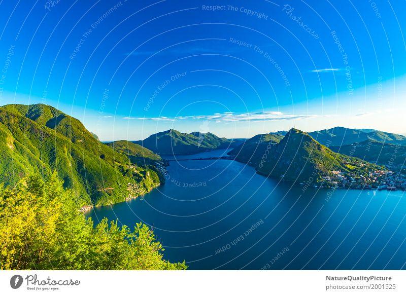 lago di lugano Himmel Ferien & Urlaub & Reisen blau Sommer grün Wasser weiß Sonne Landschaft Meer Erholung Einsamkeit Wolken ruhig Ferne Strand