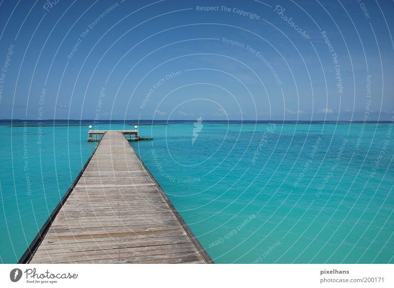 Badewannensteg Ferien & Urlaub & Reisen Ferne Freiheit Sommer Sommerurlaub Meer Natur Landschaft Wasser Himmel Wolken Horizont Schönes Wetter Wärme Menschenleer