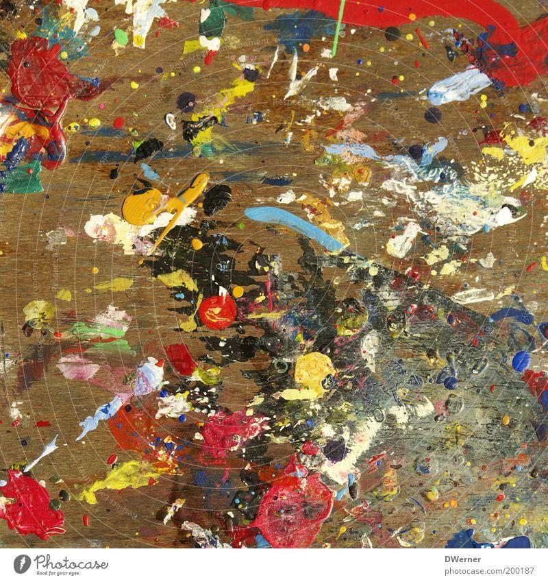 Farblehre Stil Design Renovieren Kunst Maler Kunstwerk Gemälde Tropfen zeichnen dreckig gelb rot weiß Freude Idee einzigartig Inspiration modern Farbstoff Fleck