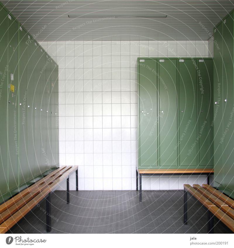 ich geh dann mal zum sport... grün Ordnung Bank Sauberkeit Fliesen u. Kacheln Möbel Raum Umkleideraum puristisch Schließfach Spind Sportstätten