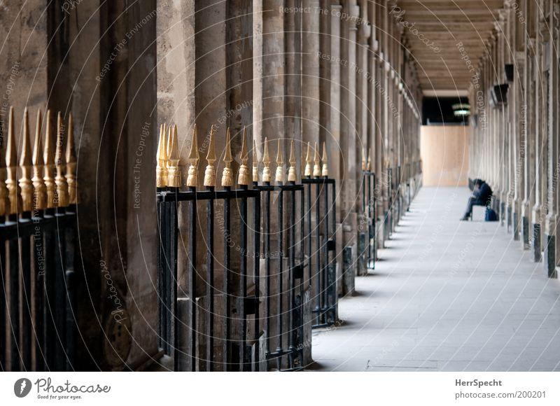 Palais Royal Mensch ruhig schwarz Architektur Gebäude grau braun gold Perspektive Zaun Wahrzeichen Sehenswürdigkeit Reihe Paris Säule Gang