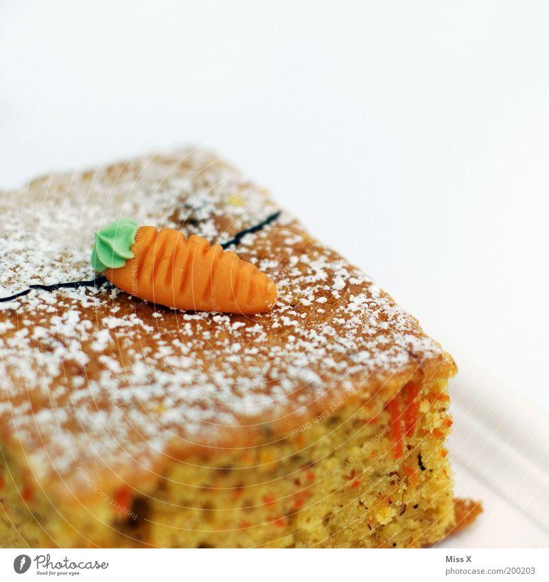 Geburtstagskuchen (nachträglich) orange Lebensmittel Ernährung süß Süßwaren lecker Kuchen Bildausschnitt Anschnitt saftig Backwaren Freisteller Gemüse Teigwaren Möhre Vegetarische Ernährung