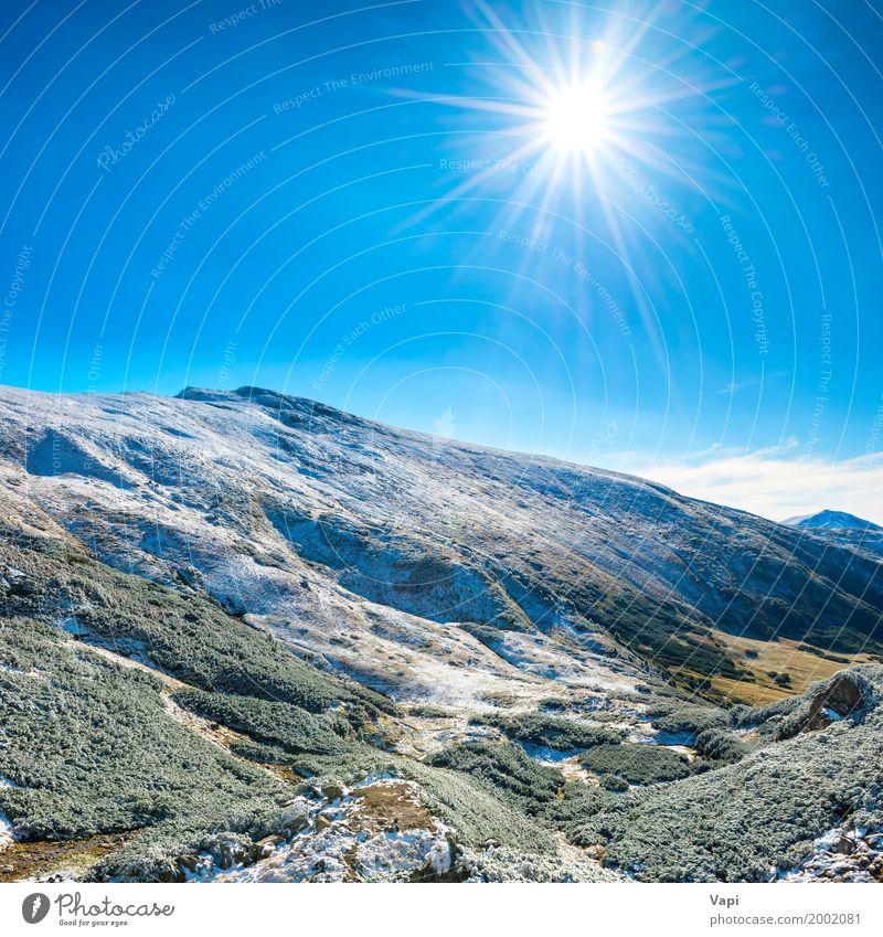 Landschaft mit Schnee in den blauen Bergen Himmel Natur Ferien & Urlaub & Reisen Sommer grün weiß Sonne Baum Winter Wald Berge u. Gebirge schwarz Umwelt gelb