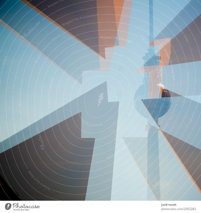Berliner Fernsehturm im Quadrat Ferne Turm Sehenswürdigkeit Wahrzeichen lang Inspiration Surrealismus
