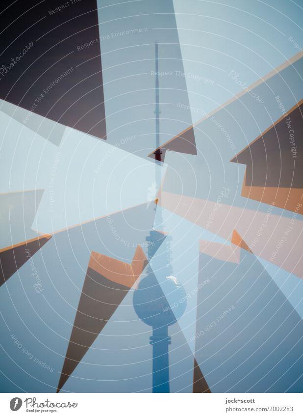 Turm mit Ecken Sightseeing Skulptur Architektur Wolkenloser Himmel Berlin-Mitte Hauptstadt Sehenswürdigkeit Wahrzeichen Berliner Fernsehturm Quadrat