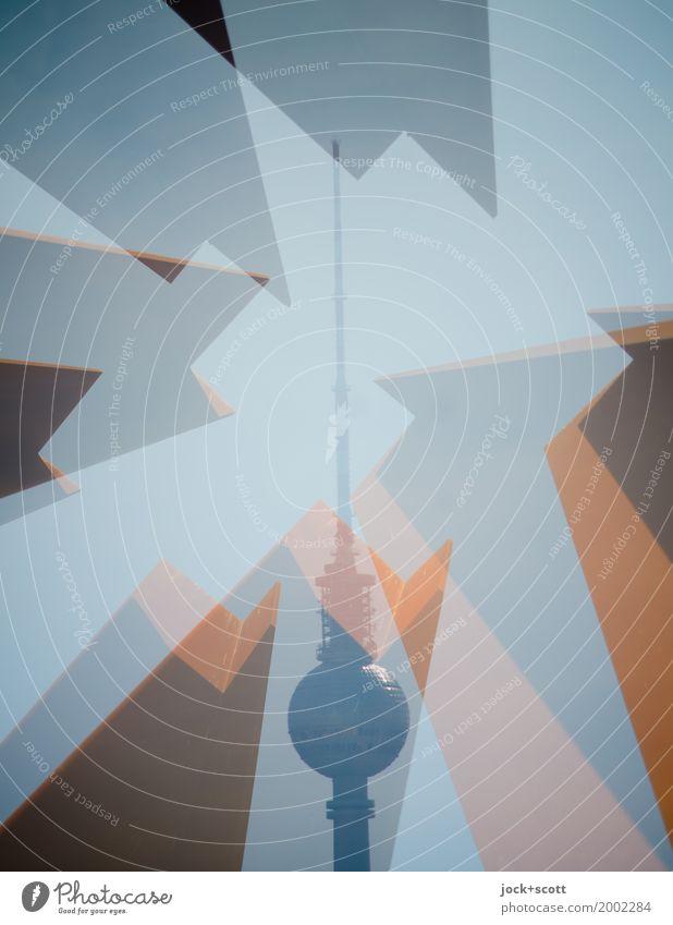 Turm im Kanten Skulptur Architektur Wolkenloser Himmel Hauptstadt Sehenswürdigkeit Wahrzeichen Berliner Fernsehturm Quadrat außergewöhnlich eckig fantastisch