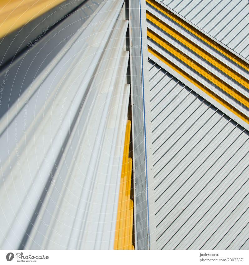 Lieber Linie × 3 Architektur Fassade Brandmauer Dekoration & Verzierung Metall Streifen Netzwerk ästhetisch eckig retro viele Inspiration komplex Ordnung