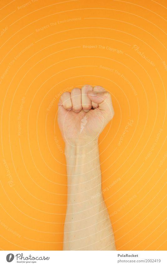 #AS# Sieg Farbe Hand orange Kraft ästhetisch Erfolg Macht stark Konzentration Aggression Kunstwerk Faust Machtkampf siegessicher Siegermacht