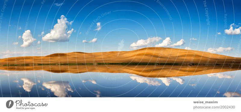 Idyllische Szene des blauen Himmels des freien Raumes und der weißen Wolken Natur Ferien & Urlaub & Reisen Sommer Wasser Landschaft Ferne gelb Frühling Freiheit