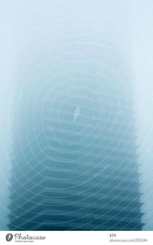 tower I blau dunkel kalt Architektur Gebäude Angst Nebel groß hoch Hochhaus gefährlich bedrohlich Unendlichkeit Skyline gruselig Rauch