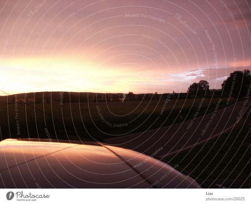 Autodach Abend Horizont Verkehr Gewitter Abenddämmerung