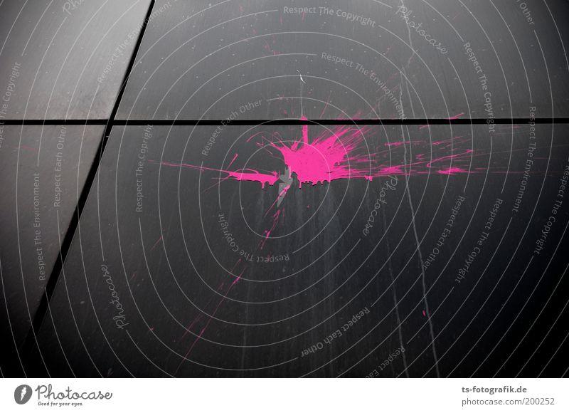sssssplatsch schwarz Wand Graffiti Spielen Farbstoff Mauer Metall Kunst rosa Fassade bedrohlich violett Wut trashig Fleck Ärger