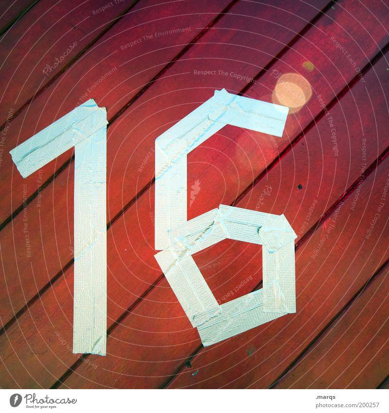 Sweet rot Holz Linie Feste & Feiern Geburtstag verrückt Ziffern & Zahlen 16 Klebeband Hausnummer