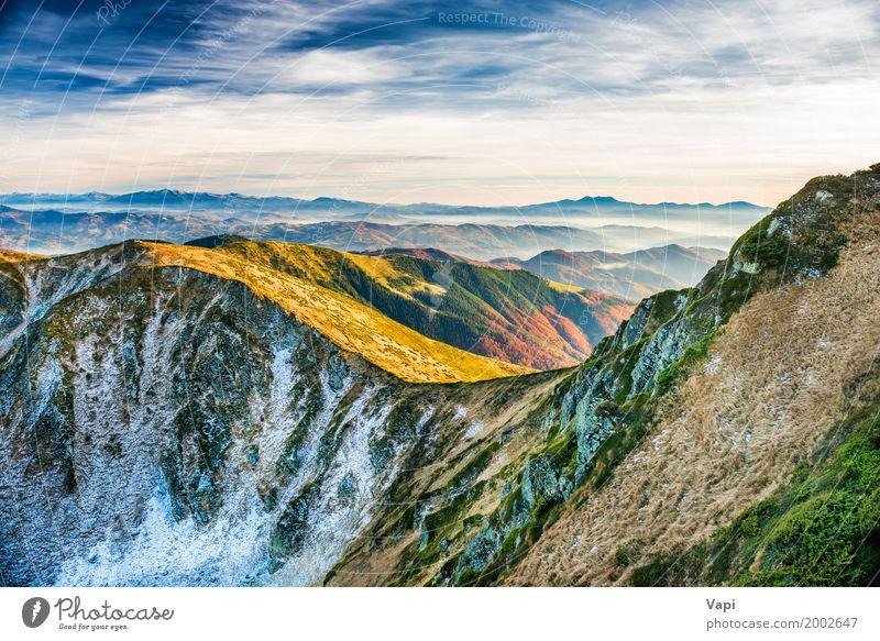 Sonnenuntergang in den Bergen Himmel Natur Ferien & Urlaub & Reisen Pflanze blau Sommer Farbe grün weiß Baum Landschaft rot Wolken Winter Berge u. Gebirge