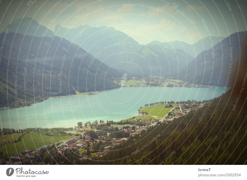 Aerial view over the Achensee lake in tyrol/ Austria. Ferien & Urlaub & Reisen Sommer Natur retro Österreich rofan mountain Bundesland Tirol alps landscape blue