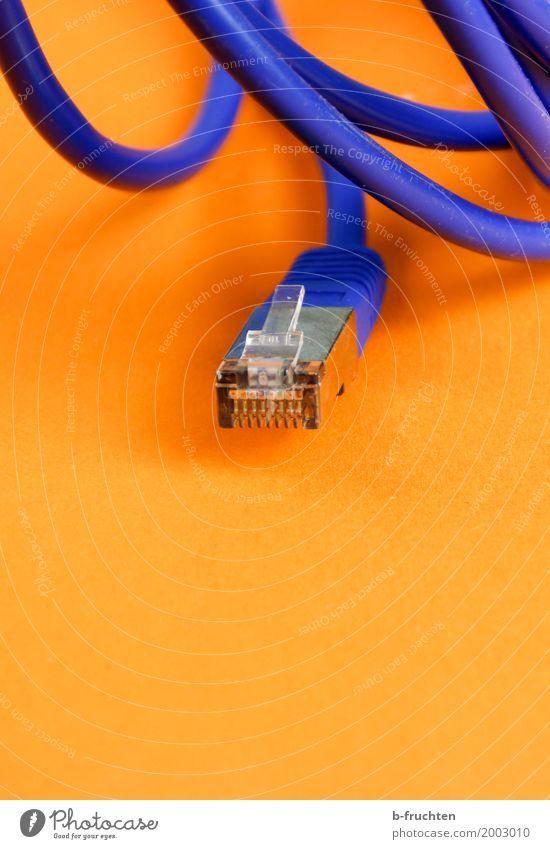 Offline Arbeitsplatz Büro Computer Kabel Fortschritt Zukunft Informationstechnologie Internet Erholung blau orange Netzwerk Computernetzwerk Stecker Ethernet
