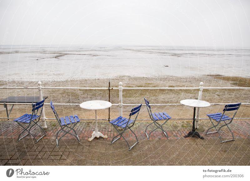 Einfach mal blau gemacht Wasser Meer blau Sommer Strand Ferien & Urlaub & Reisen Ferne Sand Regen Küste Wind Wassertropfen Horizont Ausflug Tisch Wellness