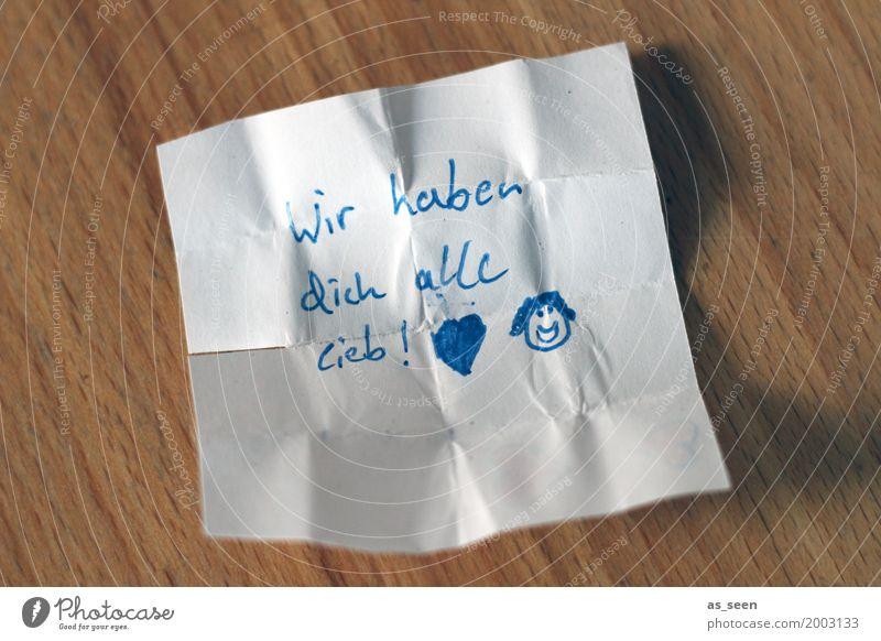 ... beruhigend Freizeit & Hobby Muttertag Geburtstag Kindererziehung Papier Zettel Information Liebe authentisch Freundlichkeit klein blau braun weiß Gefühle