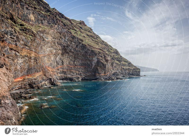schroff Natur Landschaft Wasser Himmel Wolken Horizont Frühling Wetter Schönes Wetter Felsen Küste Bucht Riff Meer maritim schön blau braun grau grün orange