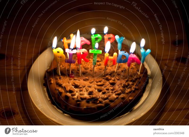 Happy Birthday alt Freude Farbe schwarz Gefühle Glück Feste & Feiern braun Kindheit Geburtstag leuchten Torte süß Wunsch Kerze Kuchen