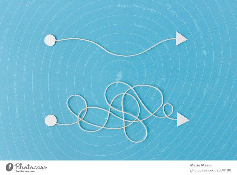 Wunsch vs Realität blau Business Linie Ordnung Schilder & Markierungen Erfolg Zukunft einfach planen Ziel Pfeil Mut Wissenschaften Beratung chaotisch