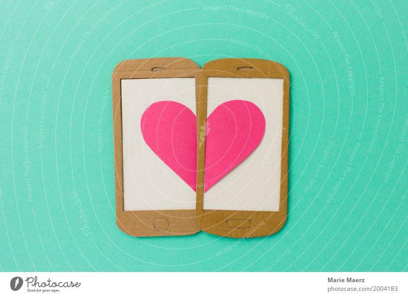 Herz & Handy - Flirten und Mobile Dating Stil Design Valentinstag Telefon PDA Liebe außergewöhnlich Glück trendy modern türkis Lebensfreude Verliebtheit