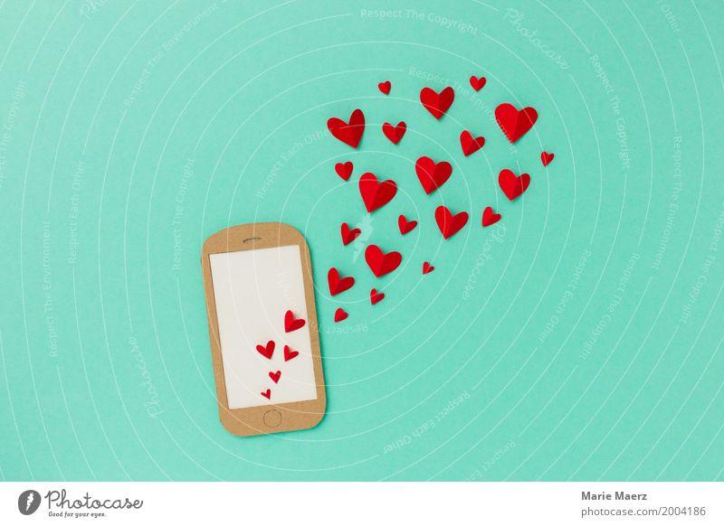 Handy Love rot sprechen Liebe Gefühle Glück außergewöhnlich Design Kommunizieren Kreativität Herz Romantik Grafik u. Illustration schreiben türkis PDA
