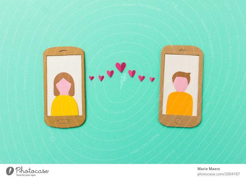 Online dating Mensch Jugendliche Junge Frau Junger Mann Liebe Stil Glück Paar Design modern Kommunizieren schreiben trendy Handy türkis Partnerschaft