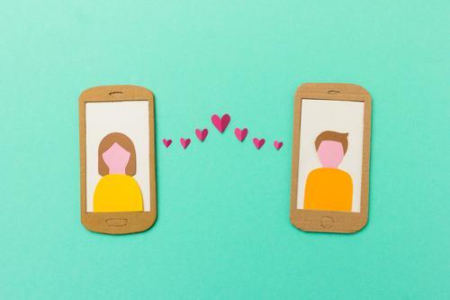Online dating Stil Design Flirten Handy PDA Mensch Junge Frau Jugendliche Junger Mann Paar 2 Kommunizieren Liebe Glück trendy türkis Begeisterung Sympathie