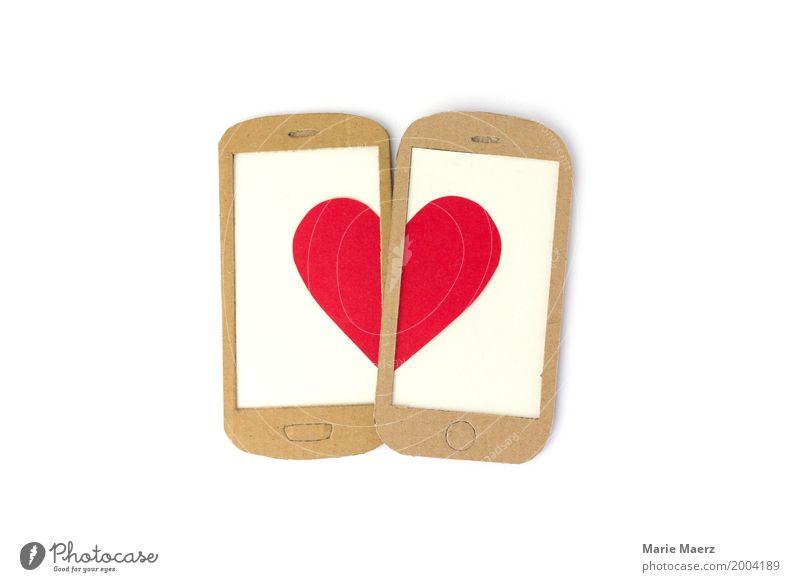 Handy Love rot Liebe Stil Glück modern Kommunizieren Technik & Technologie Herz Grafik u. Illustration schreiben trendy Mobilität PDA Valentinstag Sympathie
