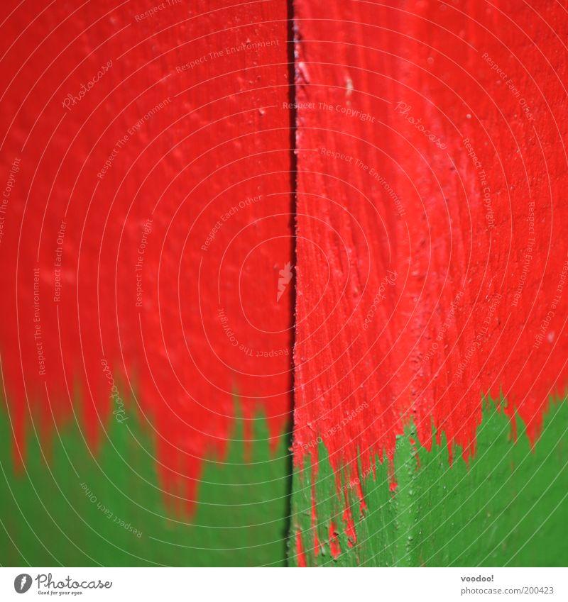 zerrissenes Land grün rot Fahne streichen leuchten Quadrat Zukunftsangst Renovieren Erdbeeren Erneuerung