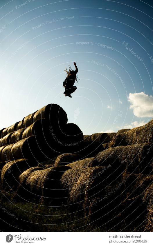 STILLGESTANDEN Mensch Himmel Natur Jugendliche Pflanze Sommer Freude Erwachsene Umwelt Landschaft Freiheit springen träumen Feld fliegen hoch